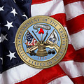 U. S. Army Seal Over American Flag. by Serge Averbukh