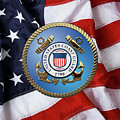 U. S. Coast Guard - U S C G Emblem Over American Flag by Serge Averbukh