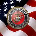 U S M C Emblem Over American Flag by Serge Averbukh