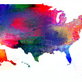U S Map Color  by Enki Art