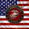 U. S.  Marine Corps - C O And Warrant Officer E G A Special Edition Over U. S.  Flag by Serge Averbukh