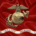 U. S.  Marine Corps - N C O Eagle Globe And Anchor Over Corps Flag by Serge Averbukh