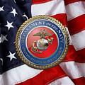 U. S. Marine Corps - U S M C Seal Over American Flag. by Serge Averbukh