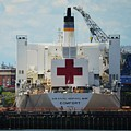 U S N Hospital Ship, Comfort In Boston's Dry Dock by Marcus Dagan