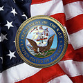 U. S.  Navy  -  U S N Emblem Over American Flag by Serge Averbukh