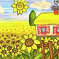 Ukrainian House With Sunflowers by Irina Afonskaya