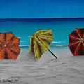 Umbrellas On The Beach by Wayne Cantrell