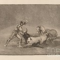 Un Caballero Espanol Mata Un Toro Despues De Haber Perdido El Caballo (a Spanish Knight Kills The Bull After Having Lost His Horse) by Francisco De Goya