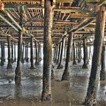 Under The Boardwalk Pier Sunbeams  by David Zanzinger