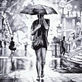 Under The Umbrella - Ballpoint Pen Art by Andrey Poletaev