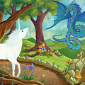 Unicorn And Dragon And Fairies And Elves - Illustration #9 In The Infinite Song by Andrea Freeman