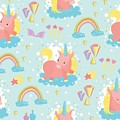 Unicorn And Rainbow Pattern by Justin Clanton