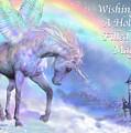 Unicorn Of The Rainbow Card by Carol Cavalaris
