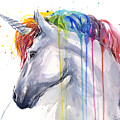 Unicorn Rainbow Watercolor by Olga Shvartsur