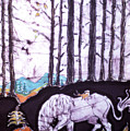 Unicorn Rests In The Forest With Fox And Bird by Carol Law Conklin