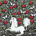 Unicorn With Red Roses And Butterflies by Lise Winne