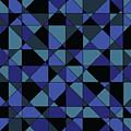 Unique Bold Hip Blue Cyan Grey Black Geometric Pattern by Shelley Neff