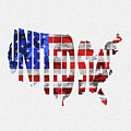 United States Typographic Map Flag by Inspirowl Design