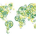 University Of Alberta Colors Swirl Map Of The World Atlas by Jurq Studio