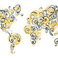 University Of California Berkeley Colors Swirl Map Of The World  by Jurq Studio