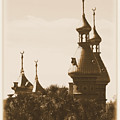 University Of Tampa Minarets With Old Postcard Framing by Carol Groenen