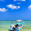 Unknown Horizons - Boat On The Gulf Of Mexico by Mark E Tisdale