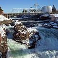 Upper Falls Winter - Spokane by Daniel Hagerman