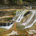 Upper Gorge Falls Of Enfield Glen In Treman State Park by Karen Jorstad