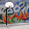 Urban Basketball Hoop Inner City Innercity Wall And Asphalt In O by Lane Erickson