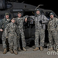 U.s. Army Crew Chiefs Pose In Front by Terry Moore