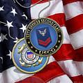 U. S. Coast Guard Petty Officer Second Class - Uscg Po2 Rank Insignia Over Us Flag by Serge Averbukh