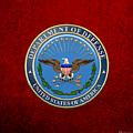 U. S. Department Of Defense - D O D Emblem Over Red Velvet by Serge Averbukh