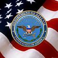U. S. Department Of Defense - D O D Emblem Over U. S. Flag by Serge Averbukh