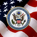 U. S. Department Of State - Dos Emblem Over U.s. Flag by Serge Averbukh