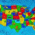 Us Map With Theme  - Special Finishing -  - Pa by Leonardo Digenio