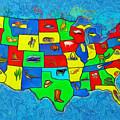 Us Map With Theme  - Van Gogh Style -  - Da by Leonardo Digenio