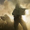 U.s. Navy Seals During A Combat Scene by Tom Weber