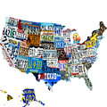 Usa License Plates Map 4p by Brian Reaves