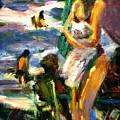 Using Her Beach Towel by Bob Dornberg