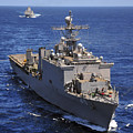 Uss Comstock Leads A Convoy Of Ships by Stocktrek Images