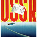 Ussr Vintage Cruise Travel Poster Restored by Carsten Reisinger