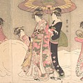 Utagawa Toyokuni I    Courtesans And Attendants Playing In The Snow by Anne Pool