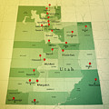 Utah Map Square Cities Straight Pin Vintage by Frank Ramspott
