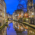 Utrecht From The Bridge By Night by Frans Blok