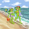Vacation Beach Frog Girls by Shari Warren