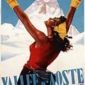 Vallee D'aoste - Aosta Valley, Italy - Retro Travel Poster - Vintage Poster by Studio Grafiikka