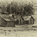 Valley Forge Barracks In Sepia by Tom Gari Gallery-Three-Photography