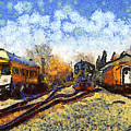 Van Gogh.s Train Station 7d11513 by Wingsdomain Art and Photography