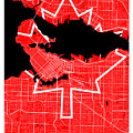 Vancouver Street Map - Vancouver Canada Road Map Art On Canada Flag Symbols by Jurq Studio