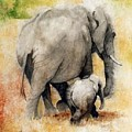 Vanishing Thunder Series - Mama And Baby Elephant by Suzanne Schaefer